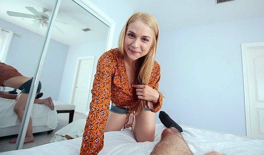 Блондинка доминирует над возлюбленным и скачет на его пенисе после отс...