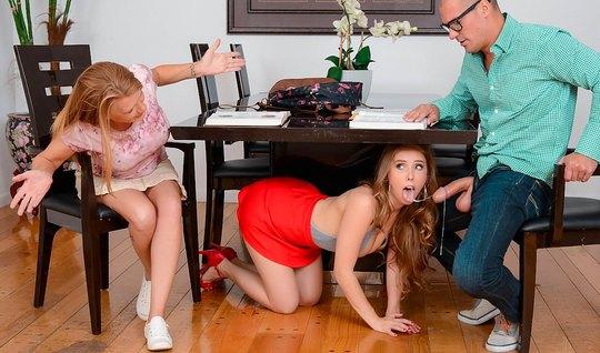 Муж изменяет своей жене с ее молодой сестрой студенткой на кровати