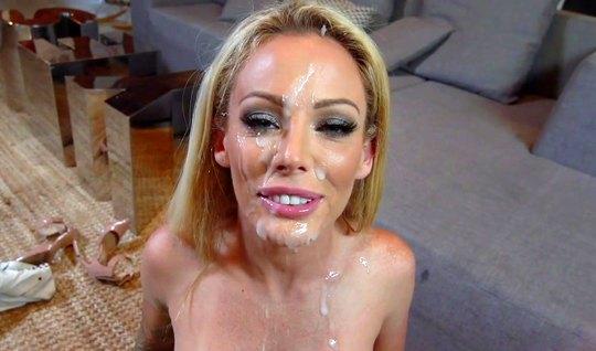 Жена сделала мужу домашний минет и приняла сперму на свое лицо...